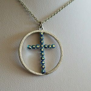Aurora Borealis RHINESTONE CROSS NECKLACE